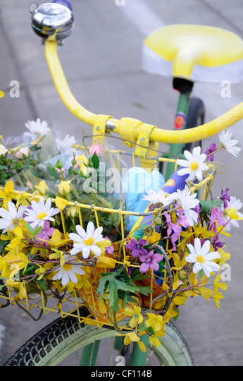 FLOWER POWER BICYCLE - Stock Image