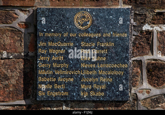 Lockerbie PanAm103 In Rememberance Memorial PAA World Wings Plaque,Scotland - Stock Image