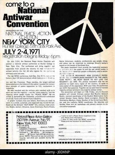 A Vietnam War era leaflet from the National Peace Action Coalition titled 'Come to a National Antiwar Convention' - Stock Image