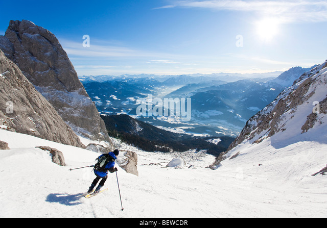 Skiing in Rumplkammer, Austria - Stock Image