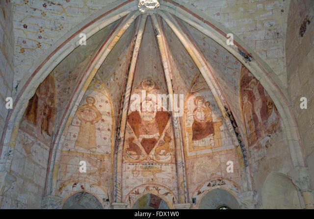 Paintings in the choir of the Chapelle de la Trinité (Trinity Chapel) Saint-Emilion (Gironde 33) France - Stock Image