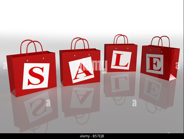 Illustration of four shopping bags in a sale - Stock Image