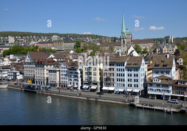 Historic center of Zürich with river Limmat, view from the Lindenhof, Zürich, Switzerland - Stock Image