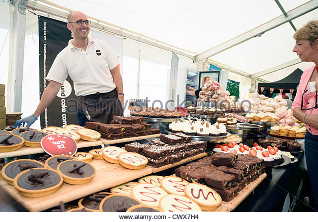 Cakes for sale at Ludlow food festival, Shropshire, UK. - Stock Image