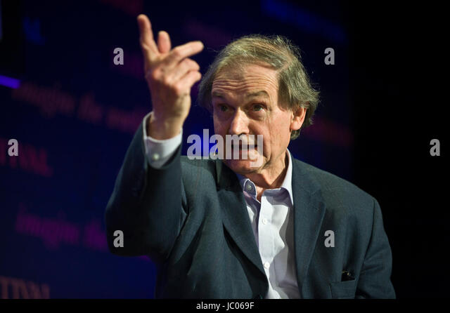 Roger Penrose theoretical physicist speaking on stage at Hay Festival of Literature and the Arts 2017 Hay-on-Wye - Stock Image
