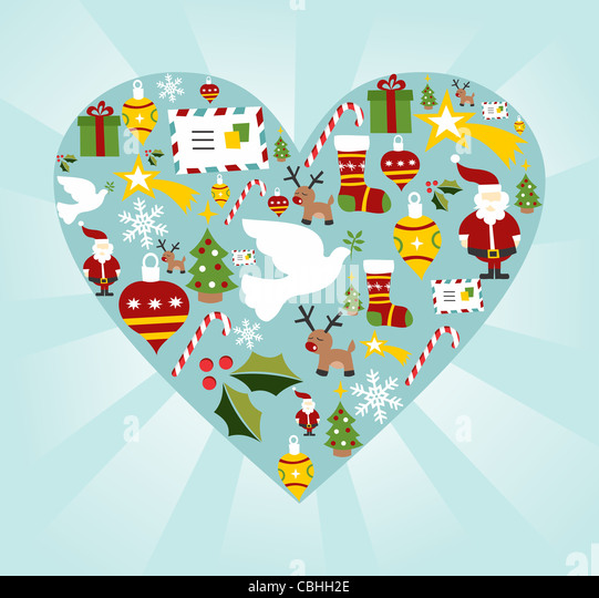 Christmas icon set in heart shape background. Vector file available. - Stock-Bilder