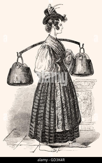Female Water-Carrier of Venice, Italy, 19th century, Wasserträgerin in Venedig, 19. Jahrhundert - Stock-Bilder