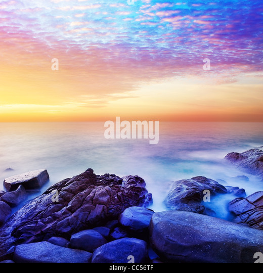 Rainbow Prime planet fantasy seascape. Square composition. - Stock Image