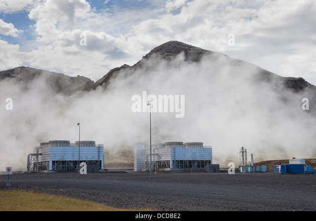 Coolers at the Hellisheidarvirkjun Geothermal Power Station in Southern Iceland - Stock Image