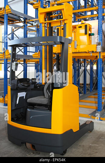 Reach forklift truck - Stock Image