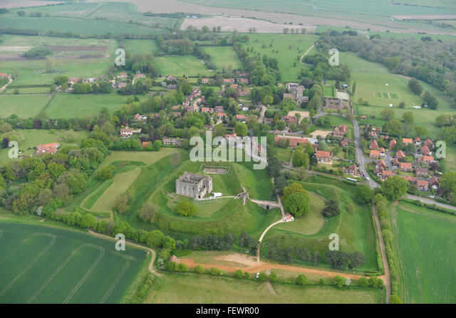 An aerial view of Castle Rising in Norfolk - Stock Image