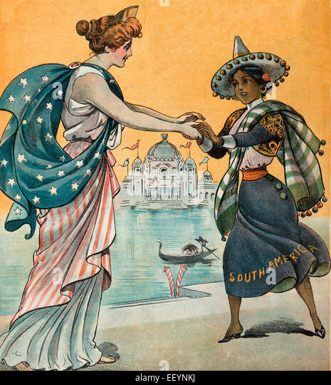 Pan-American Illustration shows Columbia welcoming a woman labeled 'South America' to the Pan-American Exposition - Stock Image