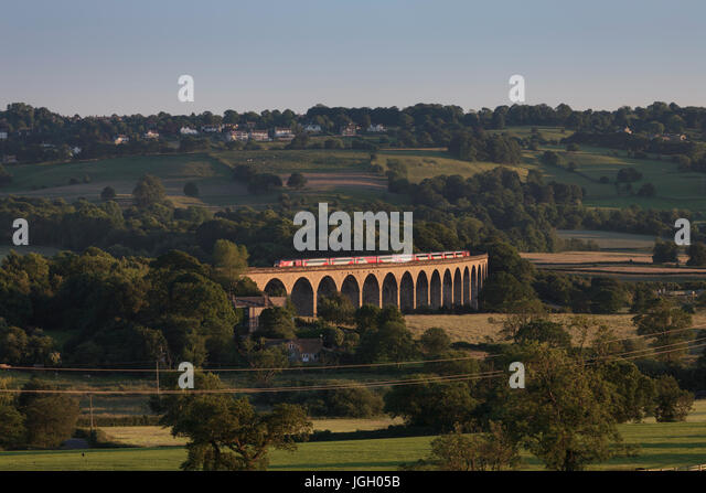 Virgin Trains East coast Intercity 125 crosses Wharfdale viaduct south of Harrogate working the 1803 Kings Cross - Stock-Bilder