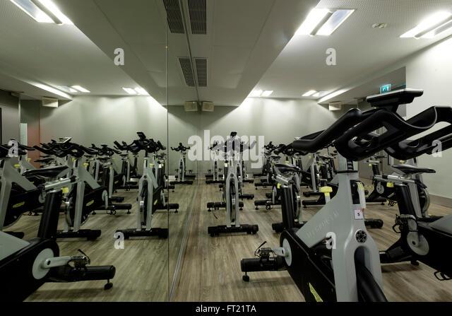 Cycling class indoors stock photos