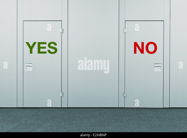 Yes or No, concept of choice. Closed doors with printed marks as concept of decision making, options, strategy and - Stock Image
