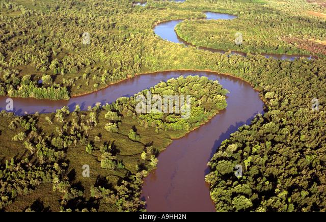 Aerial view of mangrove swamps , Madagascar - Stock-Bilder