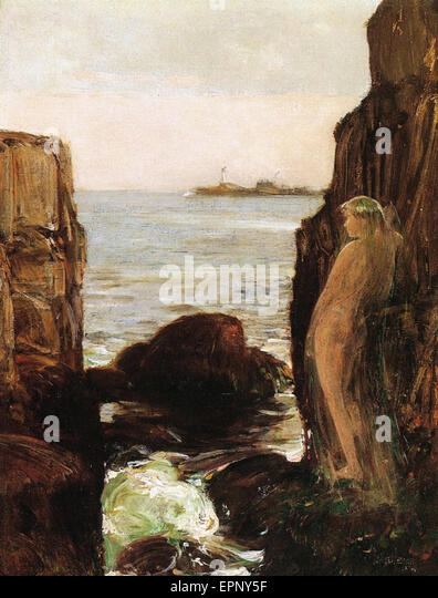 Childe Hassam  Nymph on a Rocky Ledge - Stock Image