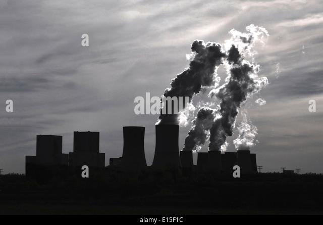 Germany, Brandenburg, Jaenschwalde Power Station - Stock Image