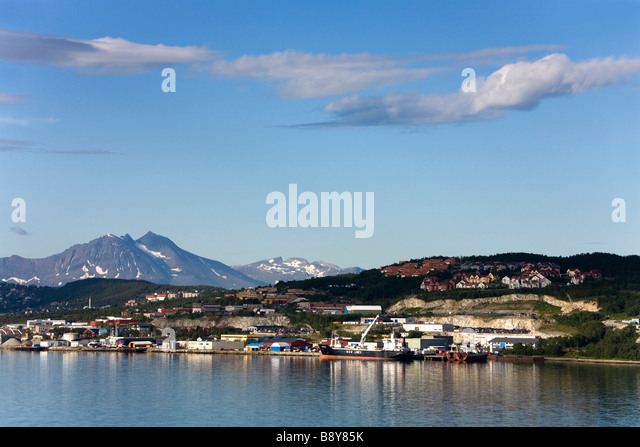Buildings at the waterfront, Tromso Sound, Tromso, Toms County, Nord-Norge, Norway - Stock-Bilder
