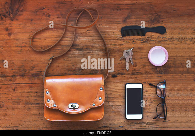 top view of the stuff of woman bag - Stock Image
