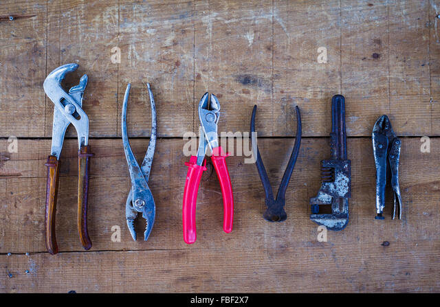 Directly Above View Of Old-Fashioned Carpentry Tool - Stock Image