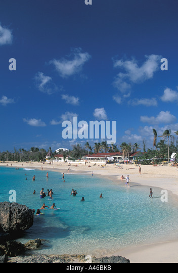 St Maarten beach beaches swimmers scenic landscape - Stock Image