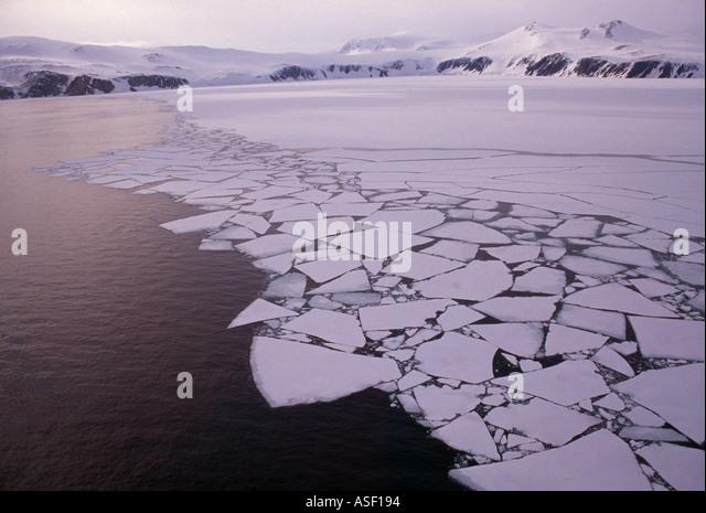 Summer breakup of fast sea ice Terra Nova Bay Ross Sea Antarctica Aerial - Stock Image