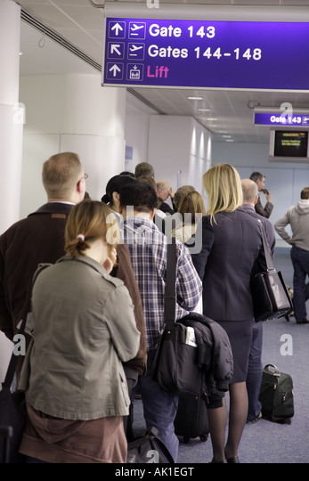 England Manchester UK Manchester Airport departing passengers gate area - Stock Image