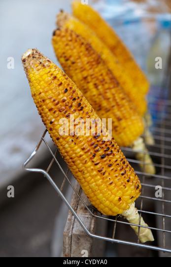 BBQ corn on cob - Stock Image