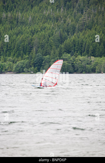 Wind surfing at Lake Nitinat - Vancouver Island BC Canada - Stock Image