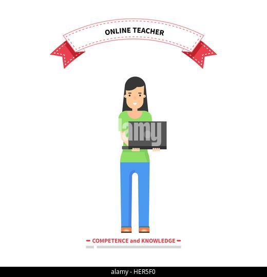 Online teacher competence and knowledge. Teacher education, school teaching online, professor study internet, study - Stock-Bilder
