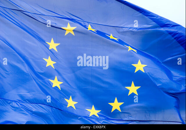 Flag of the european union stream in the wind berlin germany Europe - Stock Image