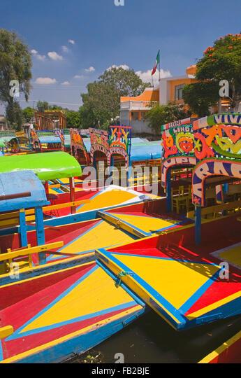The colourful tourist boats in Xochimilco, Mexico City, Mexico, South America - Stock Image