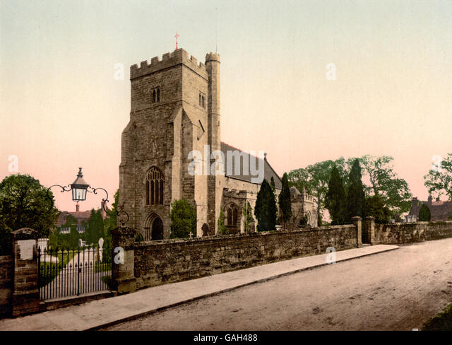 The Church, Battle, England. Image shows St. Mary the Virgin Church, Battle, East Sussex, England, circa 1900 - Stock Image