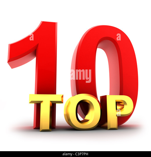 Top ten the best (isolated, done in 3d) - Stock Image