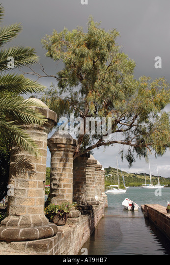 Antigua 18th century columns near Admirals Inn at Nelsons Dockyard National Park at English Harbour - Stock Image