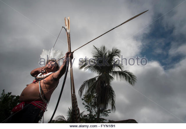 Moplip Surui in Lapetanha, Rondonia, Brazil at the '7th September Indian Reserve'. - Stock Image