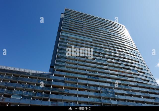 Mischek Tower, residential highrise, Donau City, Vienna, Austria, Europe - Stock Image