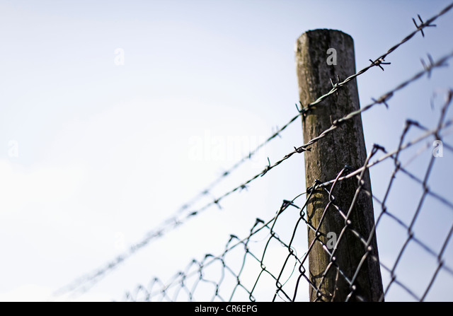 Germany, North Rhine Westphalia, Neuss, Wire mesh fence with pole against sky - Stock Image