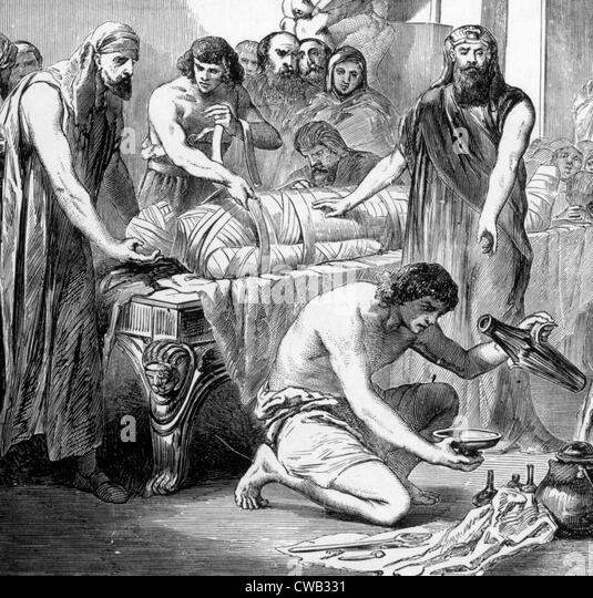 Embalming in ancient Egypt, engraving 1892 - Stock Image