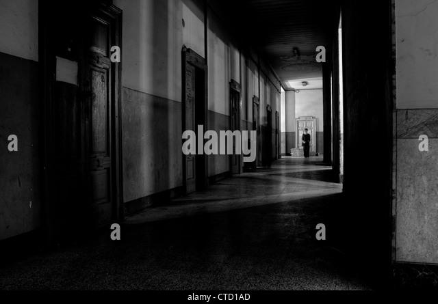 Dark hallway - Stock Image