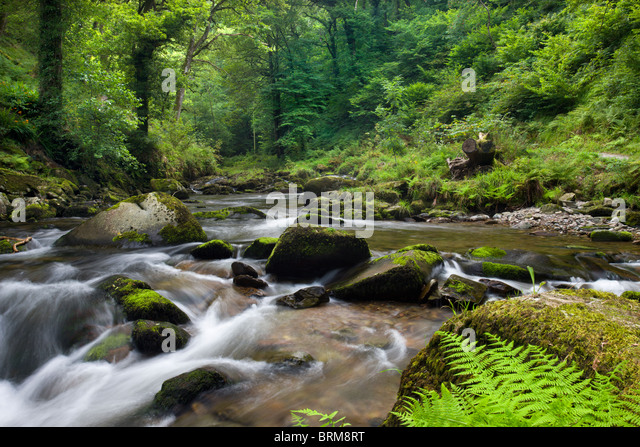 East Lyn River at Watersmeet, Exmoor National Park, Devon, England. Summer (August) 2009. - Stock Image
