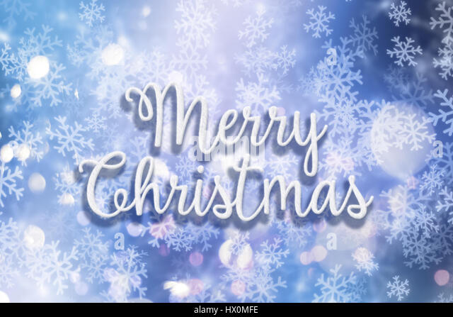 Decorative background with the words Merry Christmas in a snow style with snowflakes and bokeh lights - Stock Image
