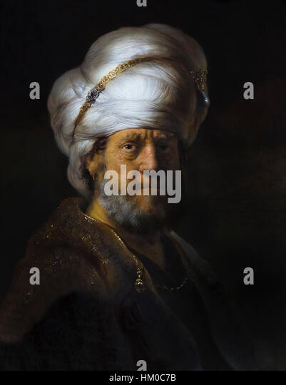 Man in Oriental Dress, by Rembrandt,1635, oil on panel, Rijksmuseum, Amsterdam, Netherlands, Europe, - Stock Image