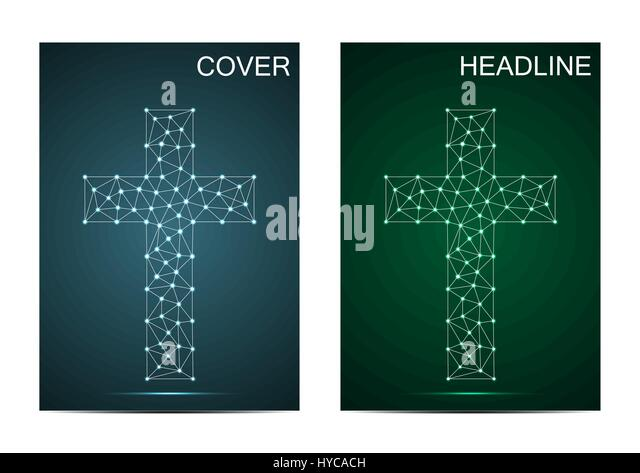 Brochure Cover Template With Religious Christian Cross. Connection  Structure With Line And Dots. Vector