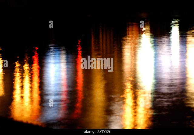 Streetlights reflection - Stock Image