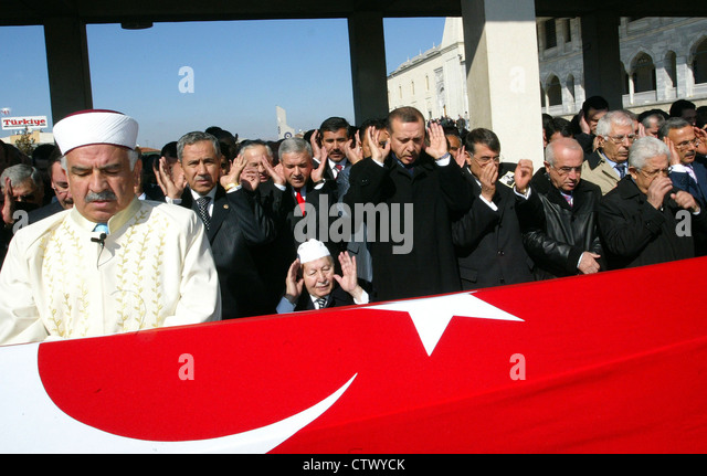 Turkish prime minister Tayyip Erdoğan and Turkish political leader in a funeral ceremony in Ankara Turkey - Stock Image