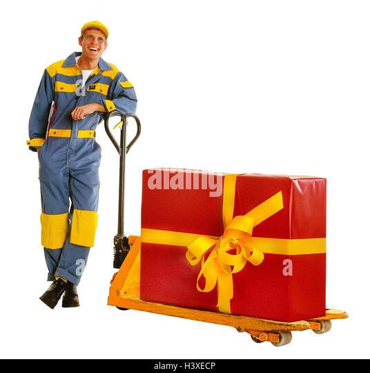 Messenger, happy, elevating platform trucks, present, professions, man, friendly, friendliness, overall, working - Stock Image