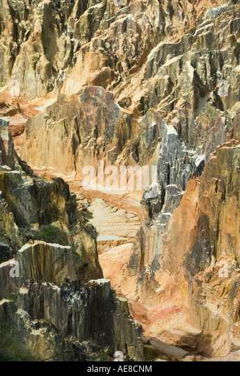 Lavaka or eroded landscape, typically caused by deforestation, near Ampijoroa Western Madagascar - Stock Image