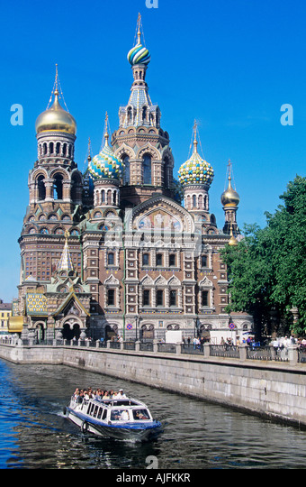 Church of the saviour on spilled blood st petersburg - Stock Image